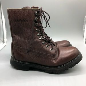 Cabela's brown leather lace-up combat boots
